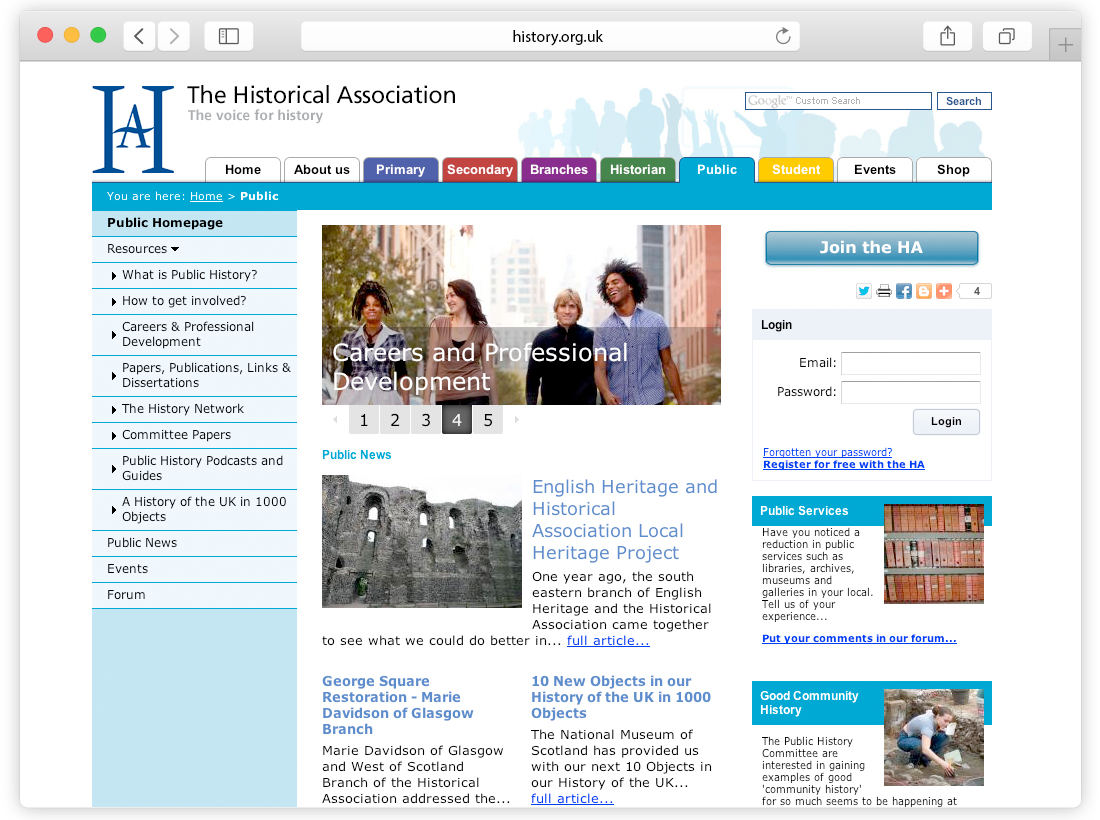 Historical Association Website image
