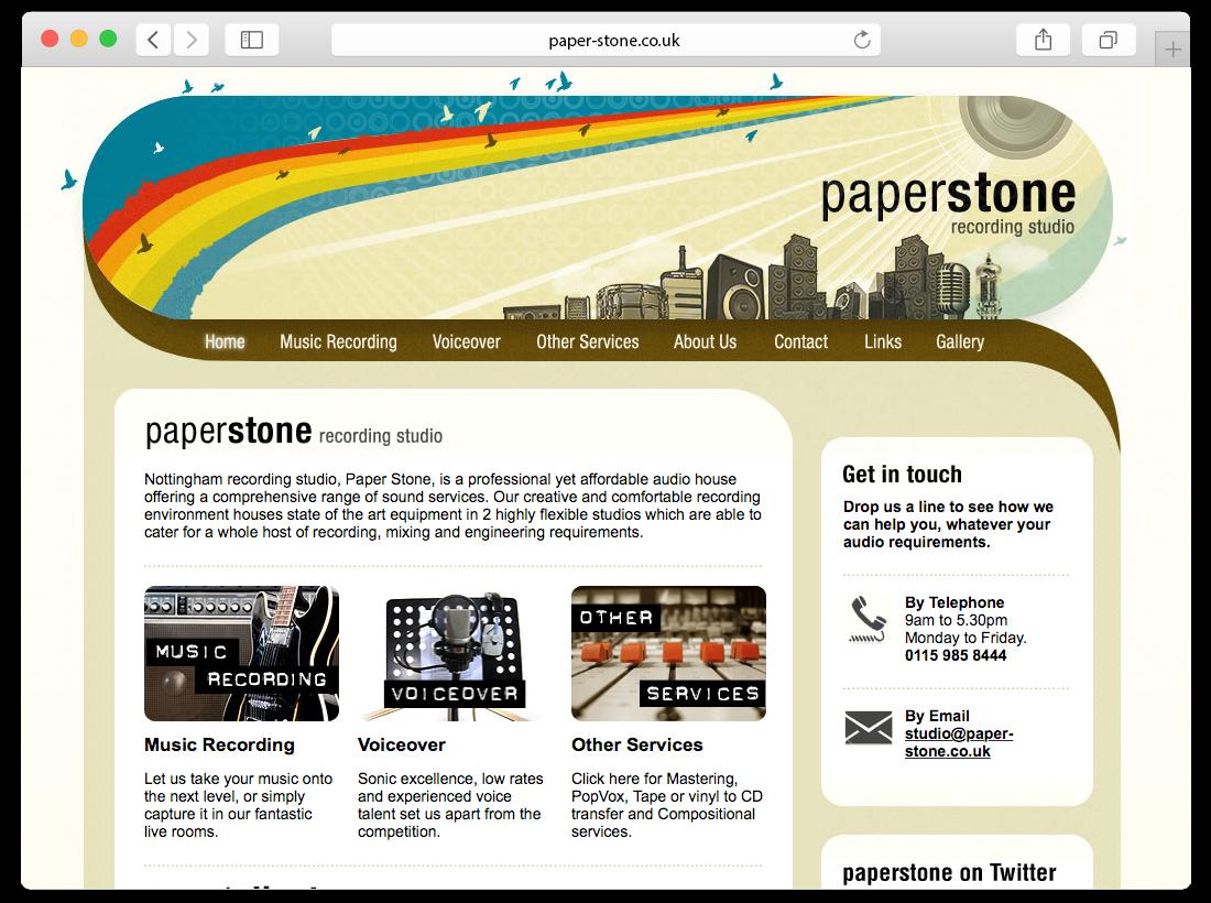 Paper Stone Recording Studio Website image