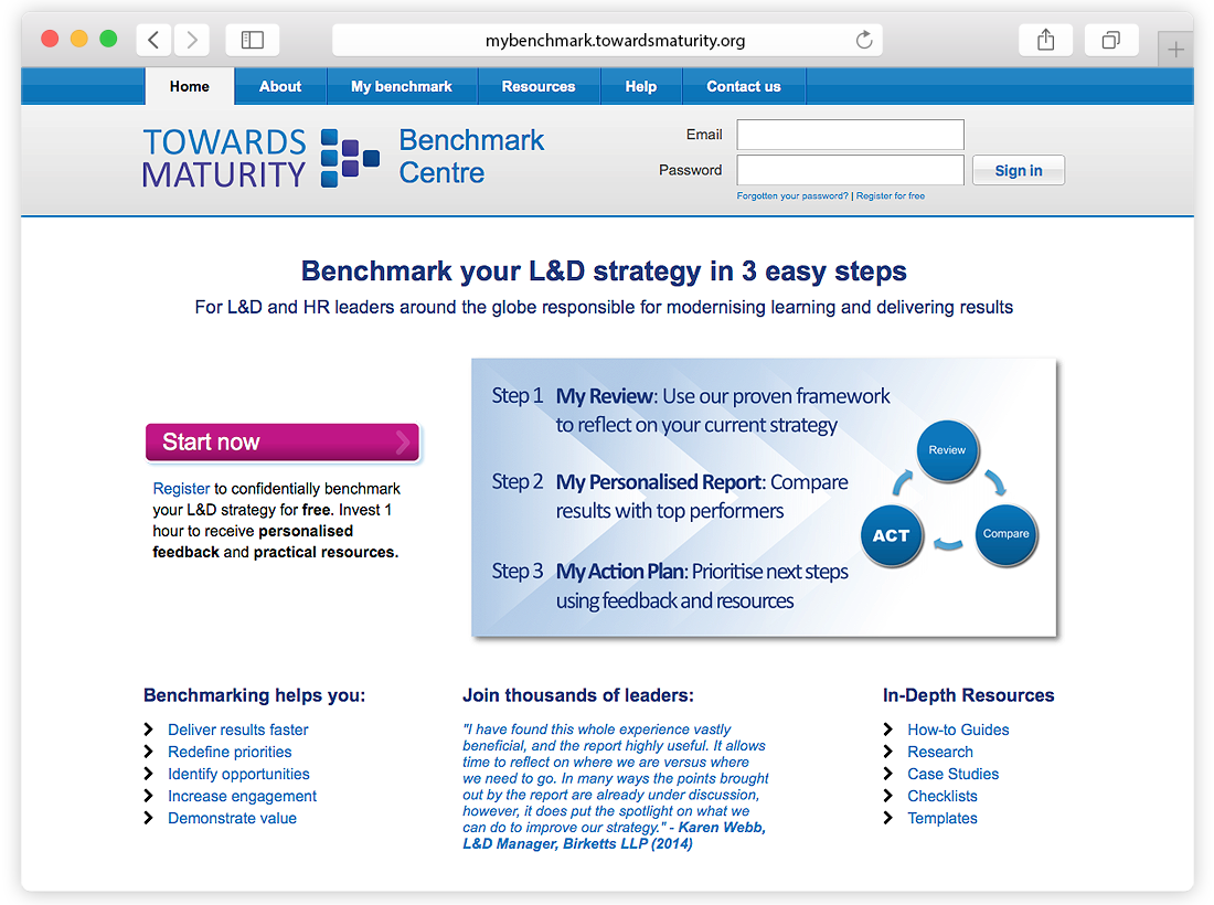 Towards Maturity Benchmark Centre Website image