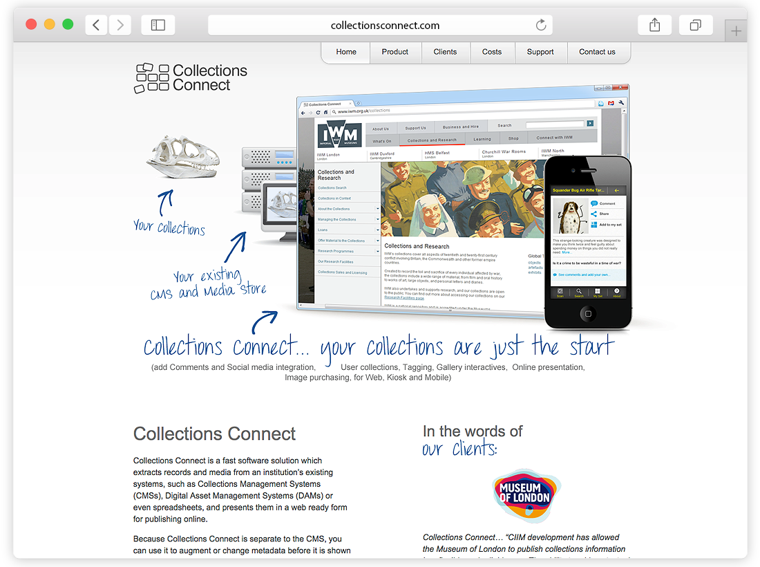 Collections Connect Website and Management System image