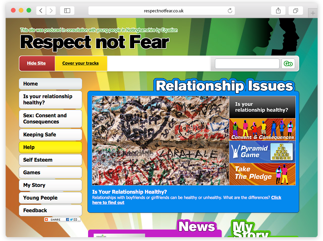 Equation – 'Respect Not Fear' Website image