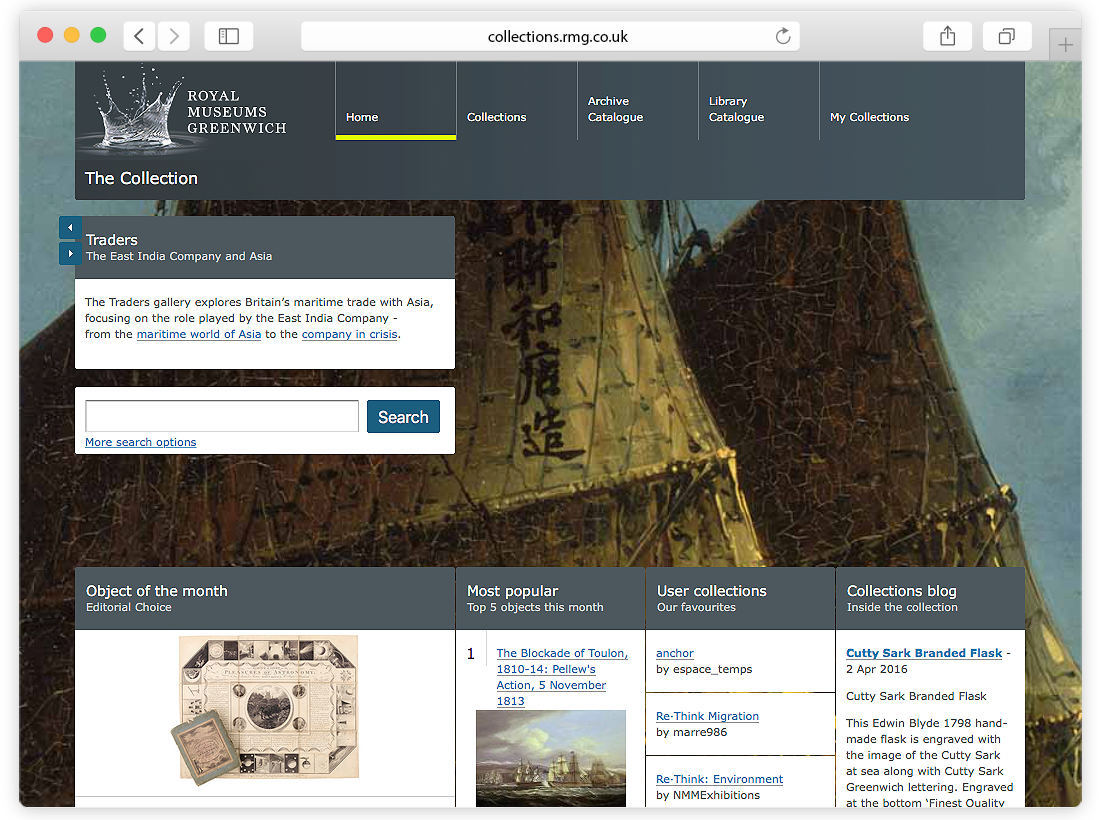 Royal Museums Greenwich 'Collections Online' Website and Touch Screen Pods image