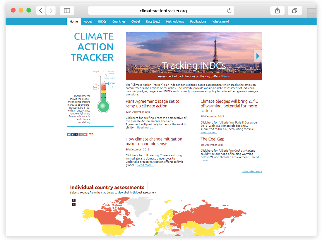 Climate Action Tracker Website image