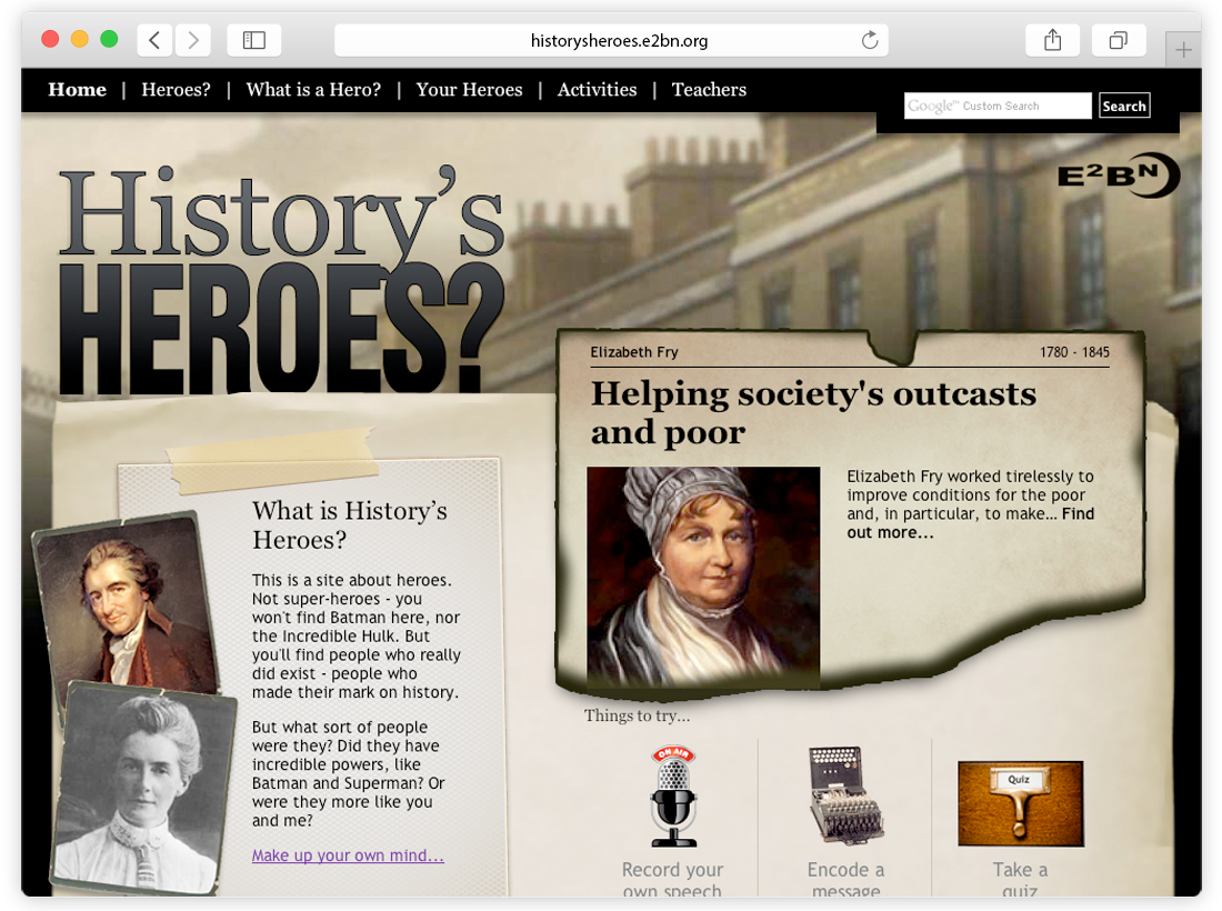'History's Heroes' Website and Games image