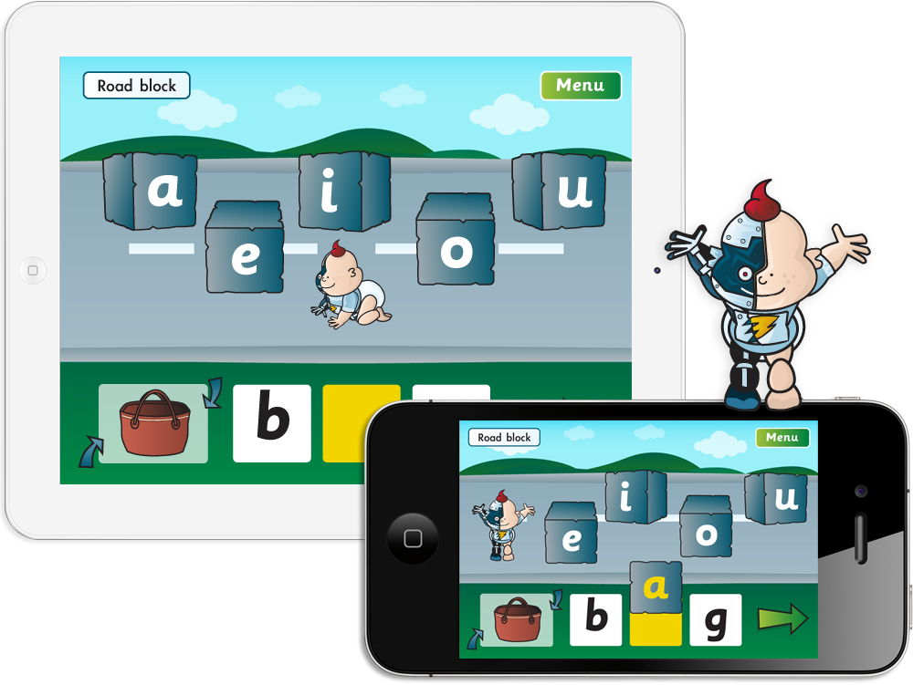 Fab-Phonics 'Road Block' App for iPhone and iPad image