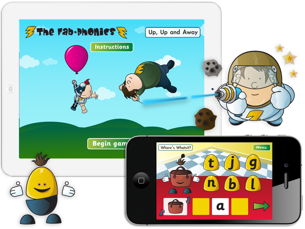 The Fab-Phonics 'Up, Up and Away', 'Where's Whatsit' and 'Space Blasters' Apps for iPhone and iPad image