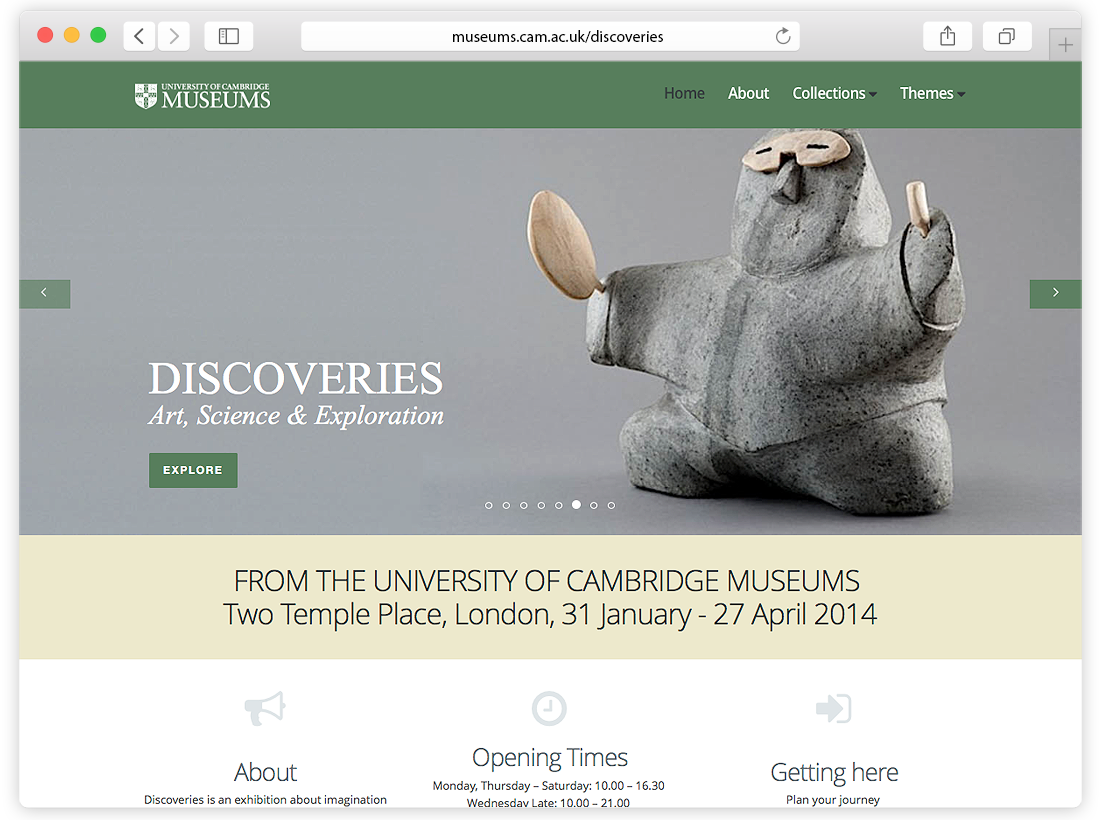 University of Cambridge Museums – Discoveries Website Design image