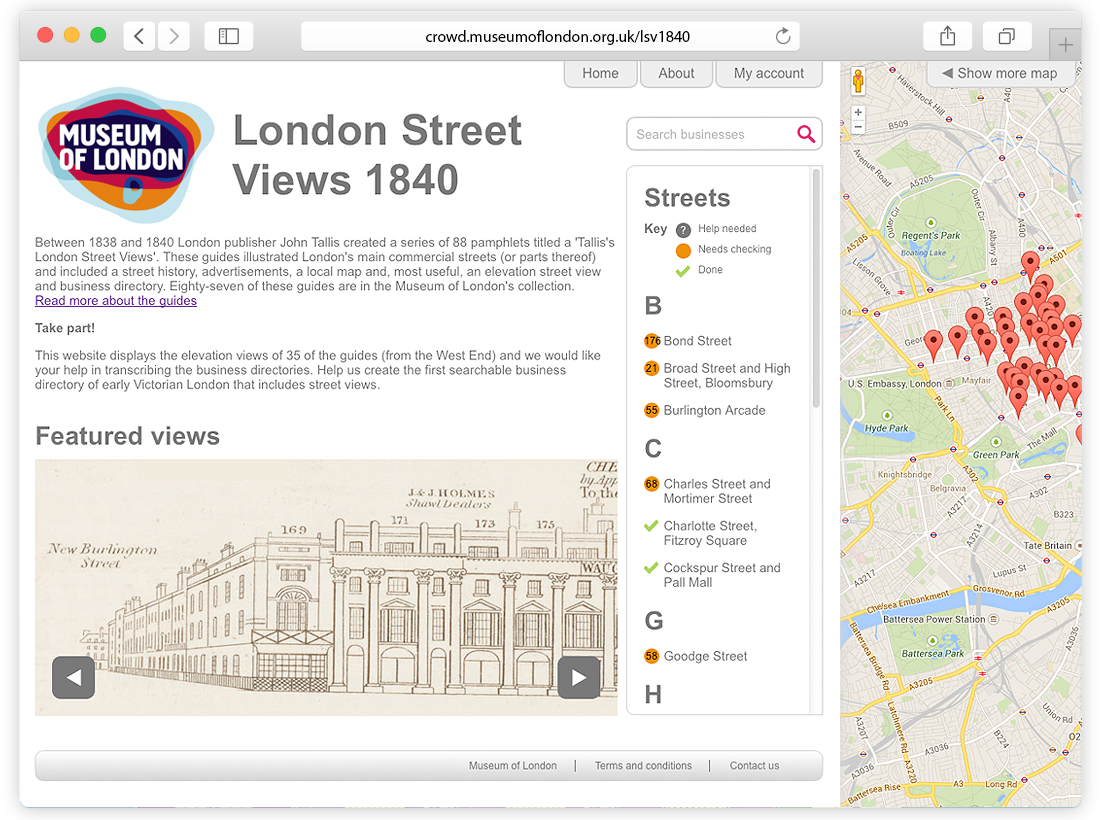 Museum of London 'London Street Views 1840' Website Design and Programming image