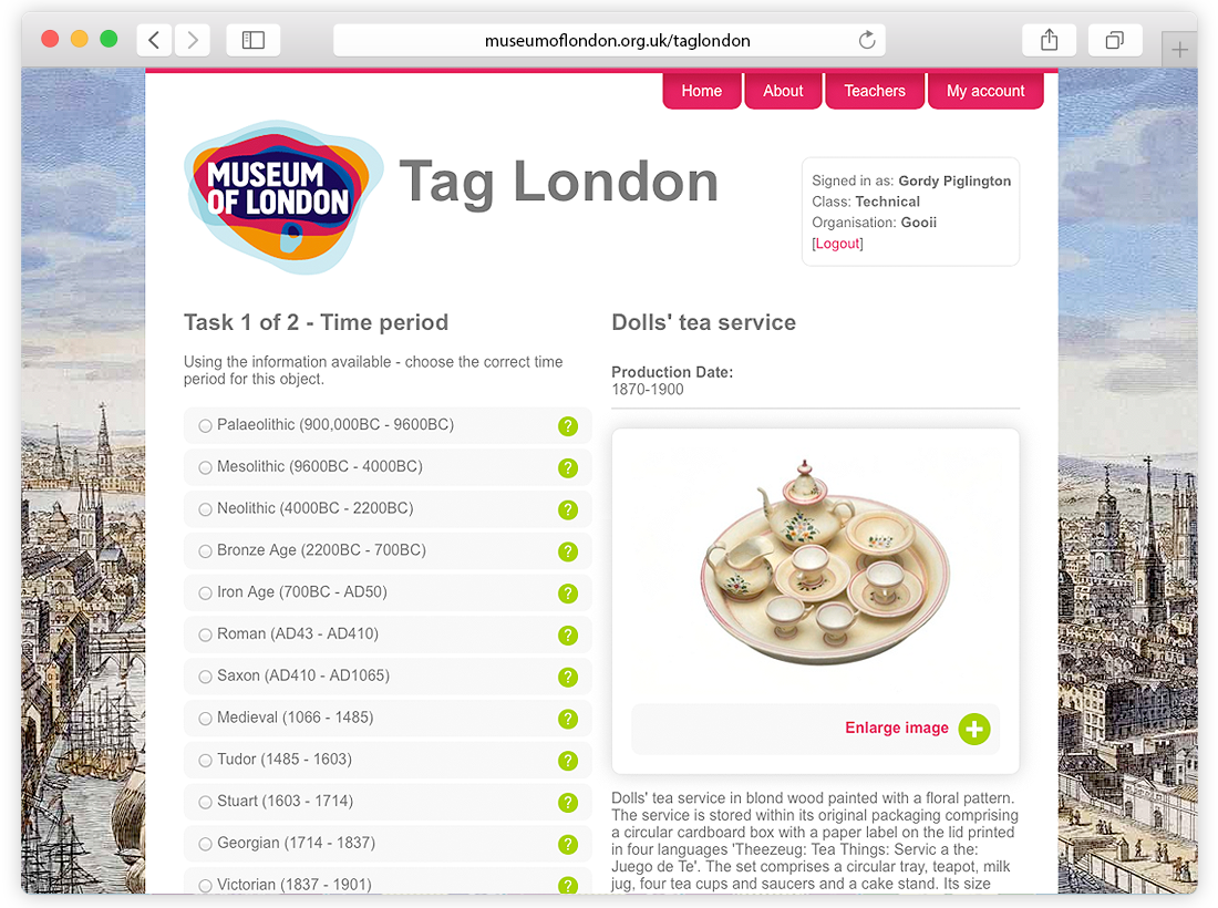 Museum of London 'Tag London' Website Design and Build image