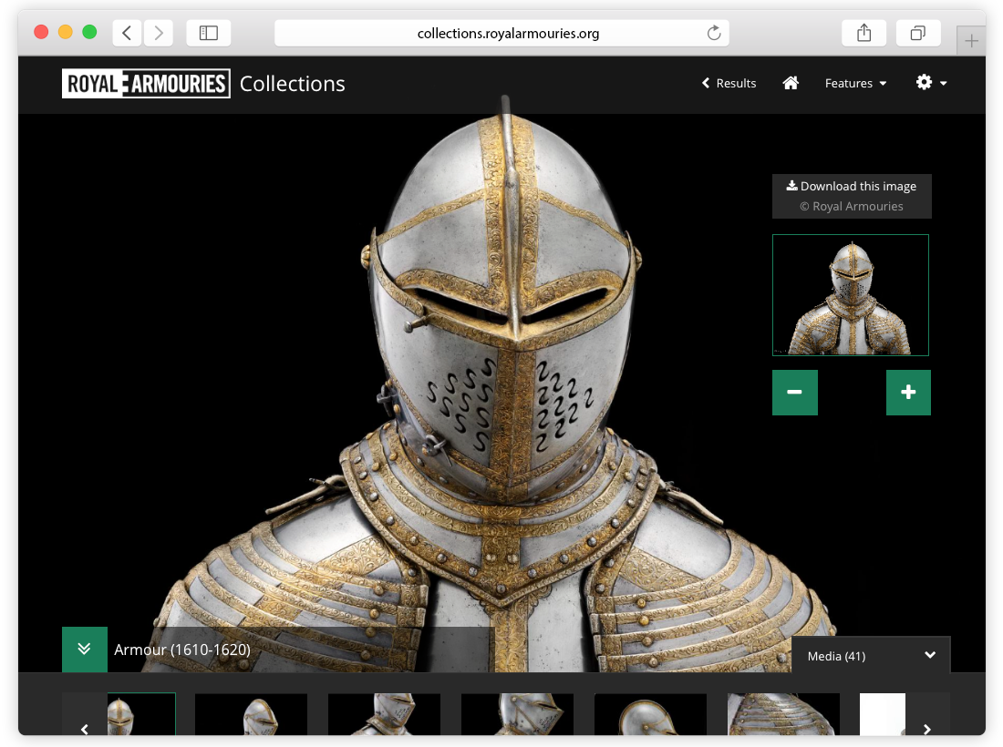 Royal Armouries Collections Website Design and Build image