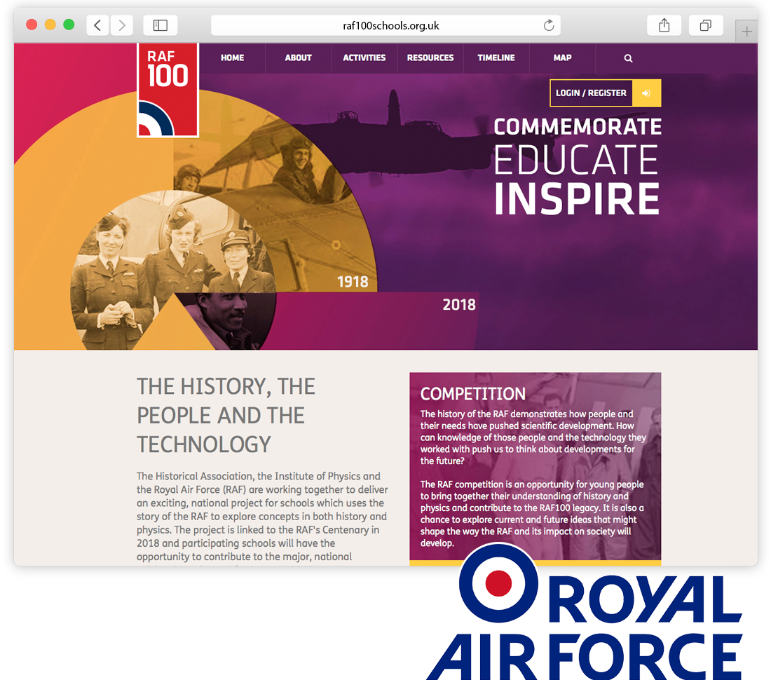 RAF100 Year Anniversary Celebration Website image